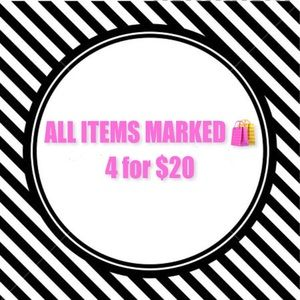 Limited time 4 for $20 sale!!!